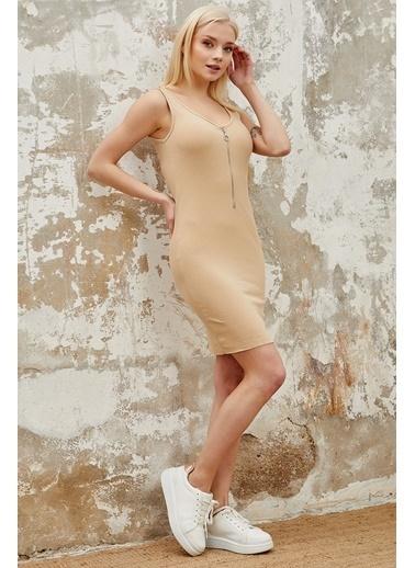 Reyon REYON Kadın Yarım Fermuarlı Askılı Elbise Taş Taş